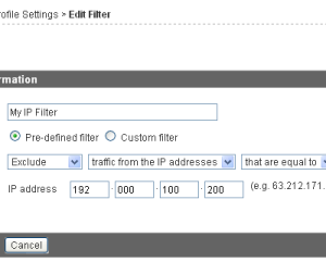 Filtering an IP from Google Analytics