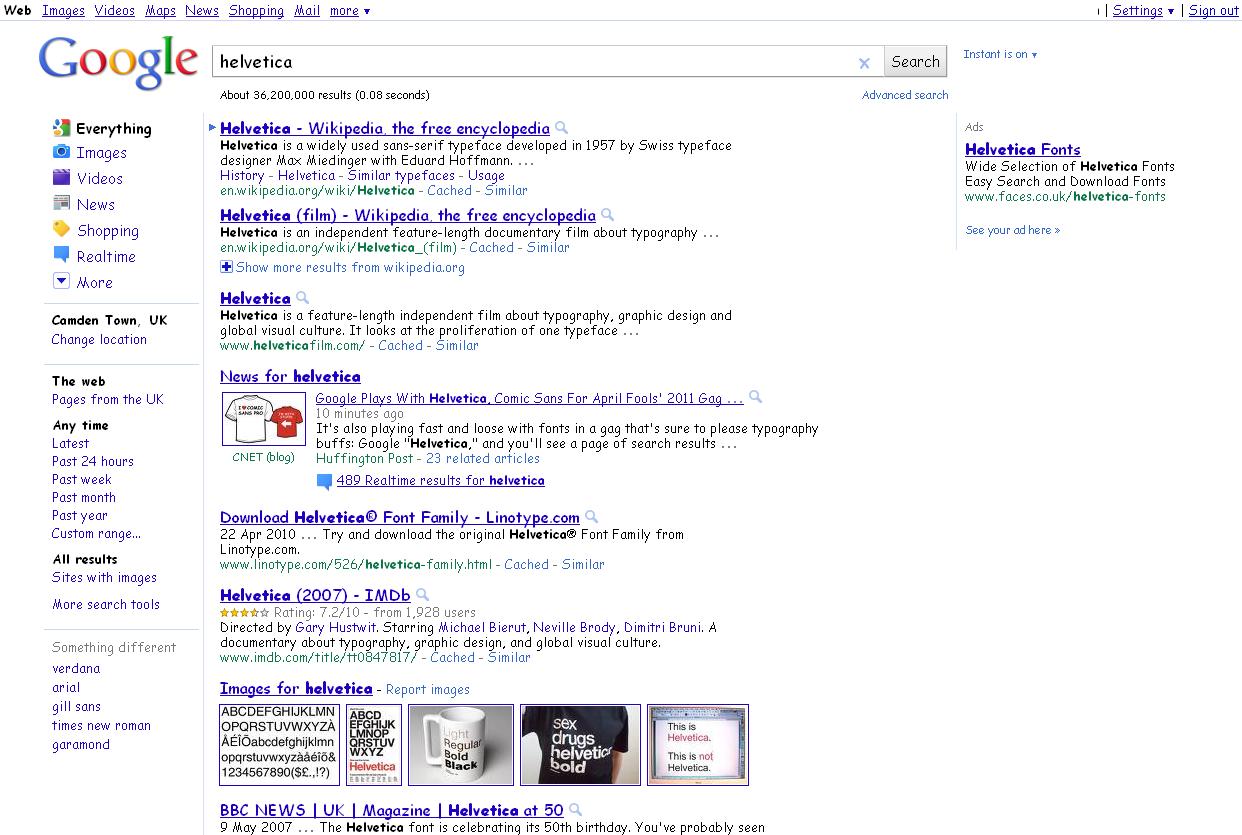Google Helvetica joke